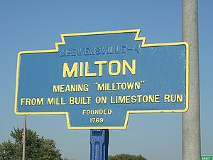Milton, Pennsylvania - Image: Milton, PA Keystone Marker 1
