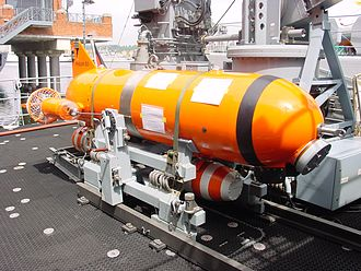 Minehunter - A minehunting ROV of the German Navy with explosive charges underneath the main body