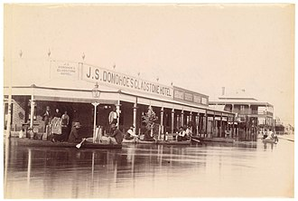 "Bourke, New South Wales - Mitchell Street, Bourke, in ""The Wet"", a flood that occurred in 1890"