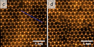 Molybdenum diselenide - Top-view atomic images of MoSe2 before and after (right) ion irradiation
