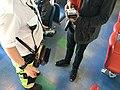 Mobile portable ticket sale debit and credit card payment machine reader, money bag with money changer coin dispenser, etc. for ticket sale on car ferry (billettkjøp på bilferge). Venjaneset-Hattvik line, Hordaland, Norway 2018-03-20.jpg
