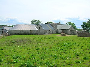Montfode Castle - The old threshing mill and farm buildings. Hay barn to the left and mill to the right. The gathering pond occupied the half of the area to the left and the dam wall to the right has been removed.