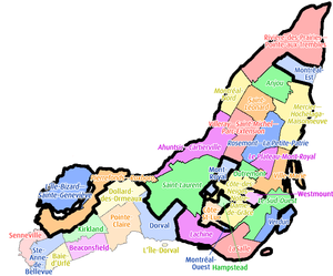 2002–06 municipal reorganization of Montreal - Island of Montreal now with 19 boroughs and 14 individual municipalities