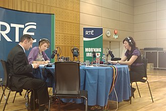 Morning Ireland - Brian Jennings (newsreader), Aine Lawlor (presenter), Nicola Hudson (AA Roadwatch)
