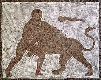 Nemean lion - Heracles slaying the Nemean lion. Detail of a Roman mosaic from Llíria (Spain).