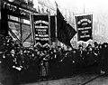 Mourners from the Ladies Waist and Dressmakers Union Local 25 and the United Hebrew Trades of New York march in the streets after the Triangle fire. (5279685974).jpg