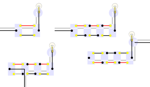 Multiway switching - Wikipedia on 3-way toggle guitar switch wiring diagram, 3-way circuit multiple lights, 3-way switch wire colors, wiring recessed ceiling lights, 3-way lighting diagram multiple lights, 3-way electrical wiring diagrams, 3-way switches, 4-way switch diagram multiple lights, 3-way 2 light wiring, 3-way switch two lights,