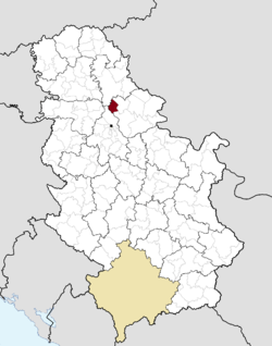Location of Opovo within Serbia