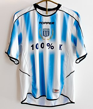 Topper (sports) - Racing Club jersey made by Topper and gifted to former Argentine President Néstor Kirchner.