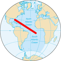Approximate route from Cape Canaveral to Ascension Island.