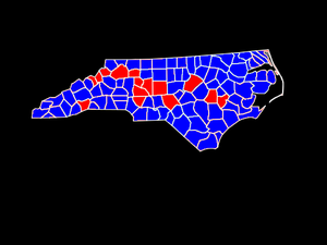 United States presidential election in North Carolina, 1976 - Image: NC County Map 1976