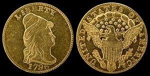 """Quarter eagle - 1796 """"Turban Head"""" or """"Capped Bust"""" quarter eagle (no stars)"""