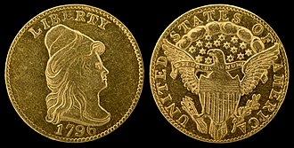 "Quarter eagle - 1796 ""Turban Head"" or ""Capped Bust"" quarter eagle (no stars)"