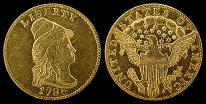 "1796 ""Turban Head"" or ""Capped Bust"" quarter eagle (no stars)"