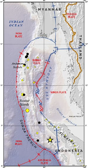 Andaman Sea - The Andaman Sea, showing tectonic plate boundaries