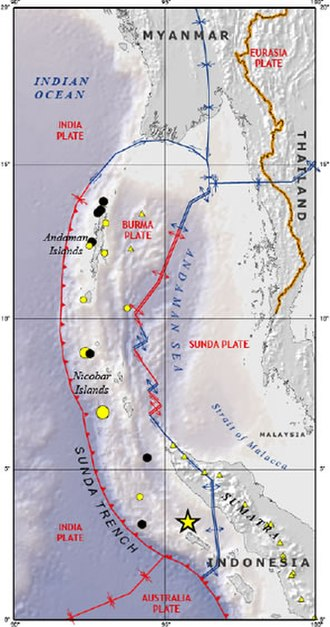 Burma Plate - The Burma Plate, showing boundaries with the India Plate (the Sunda Trench) and the Sunda Plate (through the Andaman Sea)