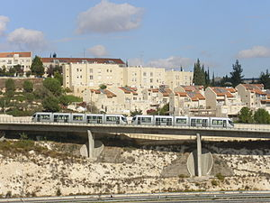 Pisgat Ze'ev - Jerusalem Light Rail running through Pisgat Ze'ev