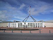 Parliament House in Canberra was opened in 1988 replacing the provisional Parliament House building opened in 1927.
