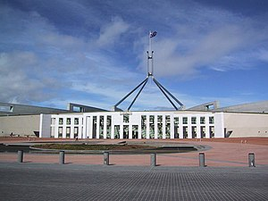 Capital Hill, Australian Capital Territory - Parliament House Canberra: The main entrance and the flag