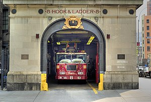 Firehouse, Hook & Ladder Company 8 - The building's main gate, with a fire truck inside