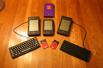 Apple Newton - Three Newton MessagePad devices with keyboard and LinearFlash PCMCIA memory card accessories