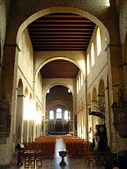 The interior of St Gertrude, Nivelles, Belgium, has a king post roof.