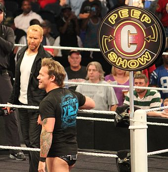 Christian hosting The Peep Show with guest Chris Jericho in September 2014 NoC Peep Show.jpg