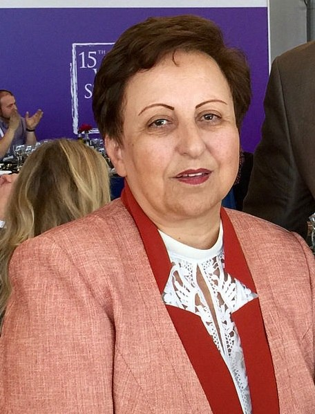 Nobel Peace Laureate Shirin Ebadi at the World Summit of Nobel Peace Laureates in Barcelona, 2015 (cropped)