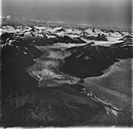 Norris and Taku Glaciers, terminus of valley glaciers seperated by a braided stream, and firn line visible in the background (GLACIERS 6073).jpg