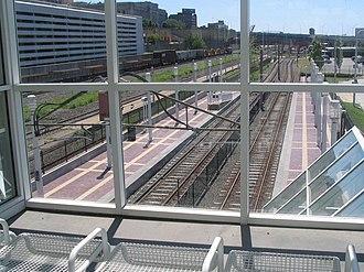 East 9th–North Coast station - Image: North Coast Cleveland RTA station 2