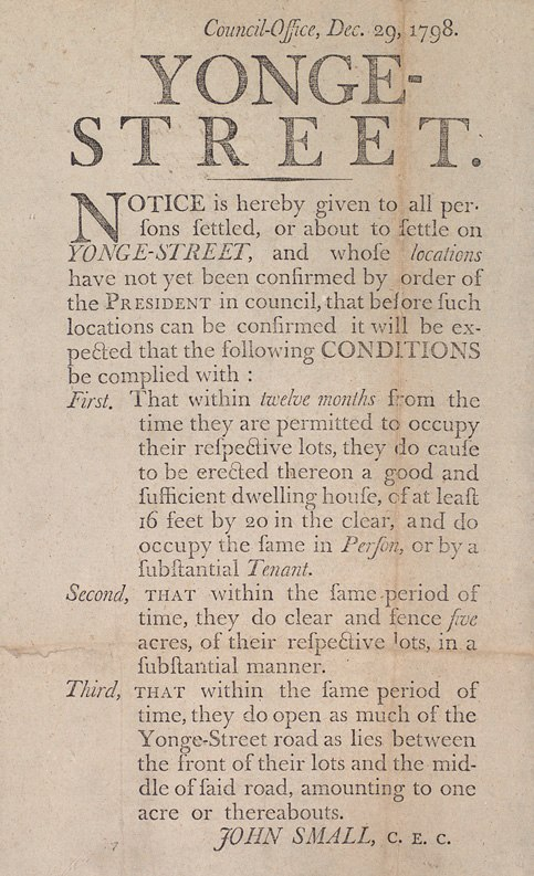 Notice to settlers on Yonge Street 1798