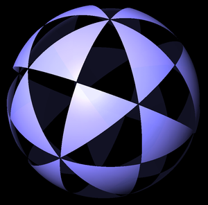Symmetry number - A sphere colored to show the 48 fundamental domains of octahedral symmetry.