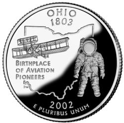 Moneda de Ohio de 25 centavos de dólar. Varios nativos de Ohio han sido pioneros a lo largo de la historia de la aviación, desde los primeros vuelos de un avión hasta el envío de astronautas al espacio y a la Luna.