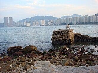 Chai Wan - Skyline of Chai Wan, extending from Island Resort in Siu Sai Wan (left) to Heng Fa Chuen (right), viewed from Lei Yuen Mun (Kowloon) across the Lei Yue Mun channel.