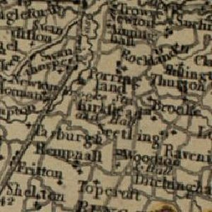 Kirstead - 19th Century map of Kirstead within the surrounding area.