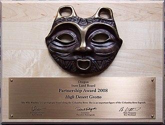 Oregon High Desert Grotto - Partnership Award 2008 given to the Oregon High Desert Grotto for their work at the Stevens Land Tract in Bend, Oregon.