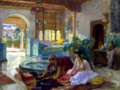 Orientalist interior by Nedjma Hadjer after Frederick Arthur Bridgman 1900 - ccsa4.0 cropped white-balanced resized by Kathleen Vail.png