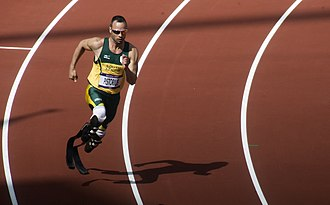 Pistorius running in the Olympic Stadium during the heats of the 400 metres at the 2012 Summer Olympics on 4 August Oscar Pistorius, the first round of the 400m at the London 2012 Olympic Games.jpeg
