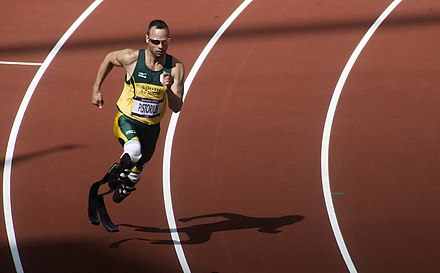 Oscar Pistorius, running in the first round of the 400 m at the 2012 Olympics Oscar Pistorius, the first round of the 400m at the London 2012 Olympic Games.jpeg