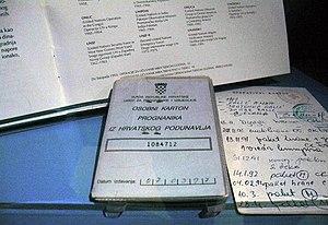 Eastern Slavonia, Baranja and Western Syrmia (1995–98) - Identity documents of Croatian refugee from region