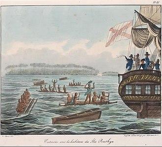 Penrhyn atoll - Captain Otto von Kotzebue meets the inhabitants of Penrhyn Atoll, 30 April 1816