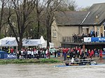 Oxford Crew in huddle at end of Boat Race 2012 (7054419969).jpg