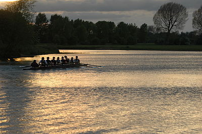 A men's crew from Keble College training for Eights Week (the main inter-college rowing races). Rowing is a popular student sport at Oxford, even though most students will not have rowed before starting at Oxford.