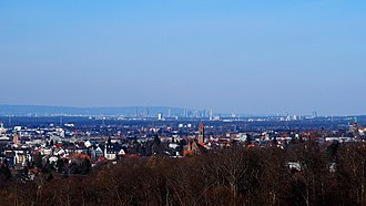 Darmstadt - View across Darmstadt towards Frankfurt skyline