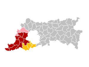 Pajottenland - This map of the Flemish Brabant municipalities depicts those of the Pajottenland in red, those that some definitions include in pink, and additional municipalities that also form the Pajottenland and Zenne Valley tourist area in yellow.