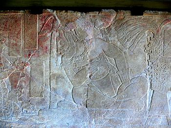 Relief of the enthronement of K'inich Ahkal Mo 'Naab' III.