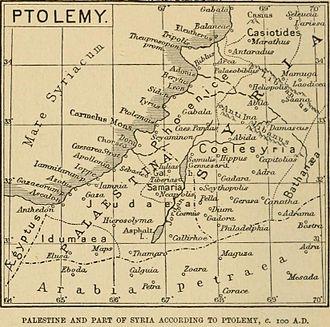 Transjordan (region) - Image: Palestine, Ptolemy, Claude R Conder, 1889