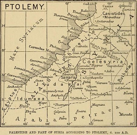 Palestine & Coele-Syria according to Ptolemy (map by Claude Reignier Conder of the Palestine Exploration Fund) Palestine, Ptolemy, Claude R Conder, 1889.jpg
