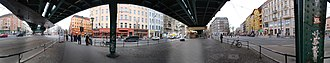 Prenzlauer Berg - 360°-Panorama of the intersection of Schönhauser Allee with Danziger and Eberswalder Straße. From left to right: junction of Eberswalder Straße, Schönhauser Allee toward the north (with elevated train track), Pappelallee, junction of Danziger Straße, Schönhauser Allee toward the south, Kastanienallee