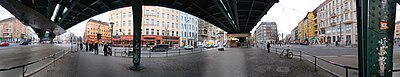 360°-Panorama of the intersection of Schönhauser Allee with Danziger and Eberswalder Straße. From left to right: junction of Eberswalder Straße, Schönhauser Allee toward the north (with elevated train track), Pappelallee, junction of Danziger Straße, Schönhauser Allee toward the south, Kastanienallee